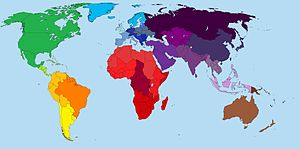 This is a map which shows the countries of dif...
