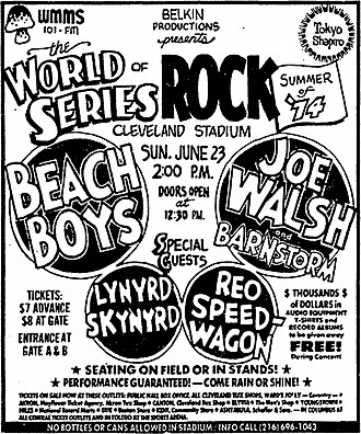 World Series of Rock - An advertisement for the 1974 concert