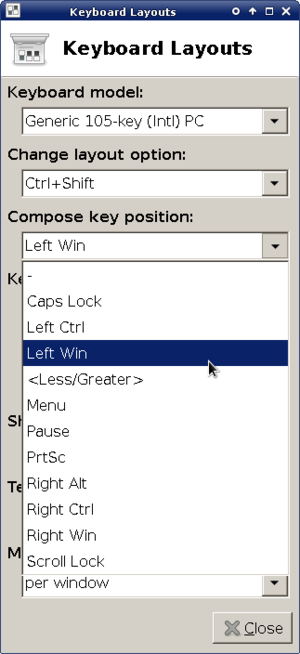 Compose key - Xfce keyboard layout settings window, featuring a compose-key option