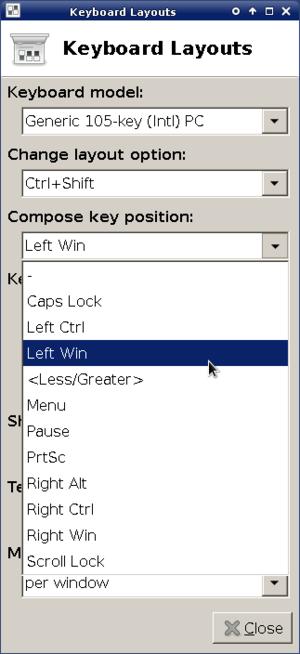 Compose key - Xfce keyboard layout settings window, featuring a compose-key option