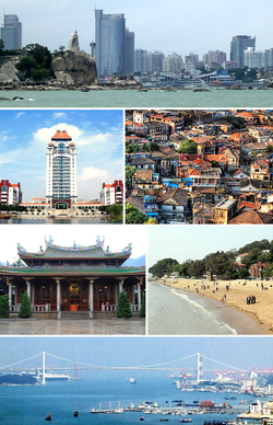 From top: Xiamen's ناحیه تجاری مرکزی، Xiamen University, colonial houses on Gulangyu Island، South Putuo Temple, beach on Gulangyu Island, and Haicang Bridge