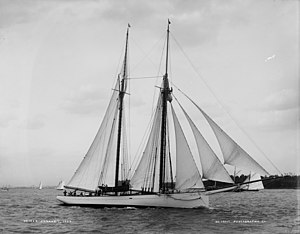 Coronet (yacht) at sail in 1894, digital file ...