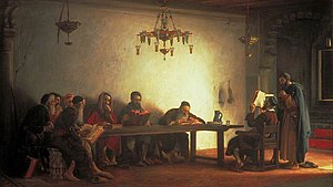 ציור של ישיבת רבנים במרוקו (1882)
