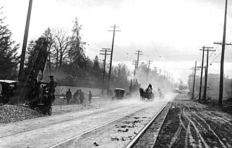 Bedford Park, Toronto - Work on streetcar rails on Lawrence Avenue and Yonge Street, c. 1922. Streetcars service began in Bedford Park in 1890.