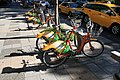 YouBike bicycles parking on Shifu Road, Taipei City 20100721.jpg
