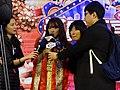 Yua Mikami and TTV FTV TVBS CTI microphones on Taiwan Pavilion stage 20180127.jpg