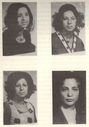 Persecution of Jews - Border police discovered on March 2, 1974, the bodies of (clockwise from top left: Fara Zeibak, Mazal Zeibak, Eva Saad and Lulu Zeibak, in a cave in the Zabdani Mountains.