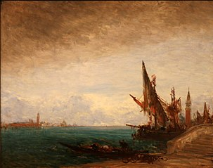 Bateau de pêche amarré Venise