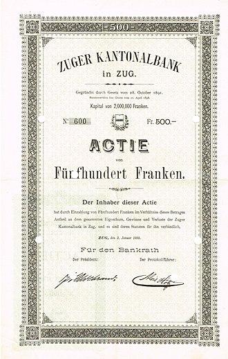 Zuger Kantonalbank - Share of the Zuger Kantonalbank, issued 2. January 1899