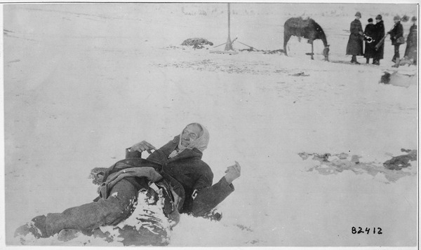 """Big Foot, leader of the Sioux, captured at the battle of Wounded Knee, S.D."" Here he lies frozen on the snow-covered ba - NARA - 530805.tif"