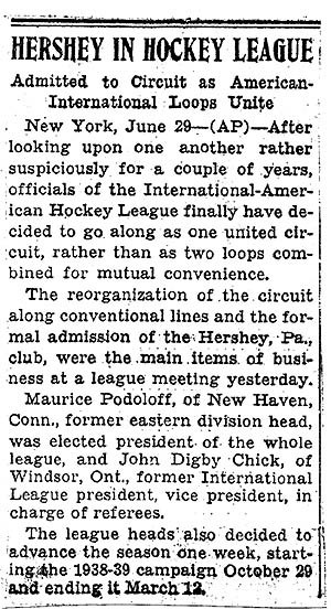 "American Hockey League - Image: ""Hershey in Hockey League"" (from The Philadelphia Record, 6 29 1938)"