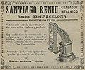 """SANTIAGO RENIU GRABADOR MECANICO"" ""BARCELONA"" train ticket machine manufacturer ad in 1915, de- Anuario de ferrocarriles españoles. 1915 (page 208 crop).jpg"