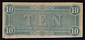 $10 Confederate States of America 1864, Banknote, reverse.jpg