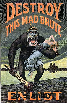 World War I propaganda poster for enlistment in the U.S. Army 'Destroy this mad brute' WWI propaganda poster (US version).jpg