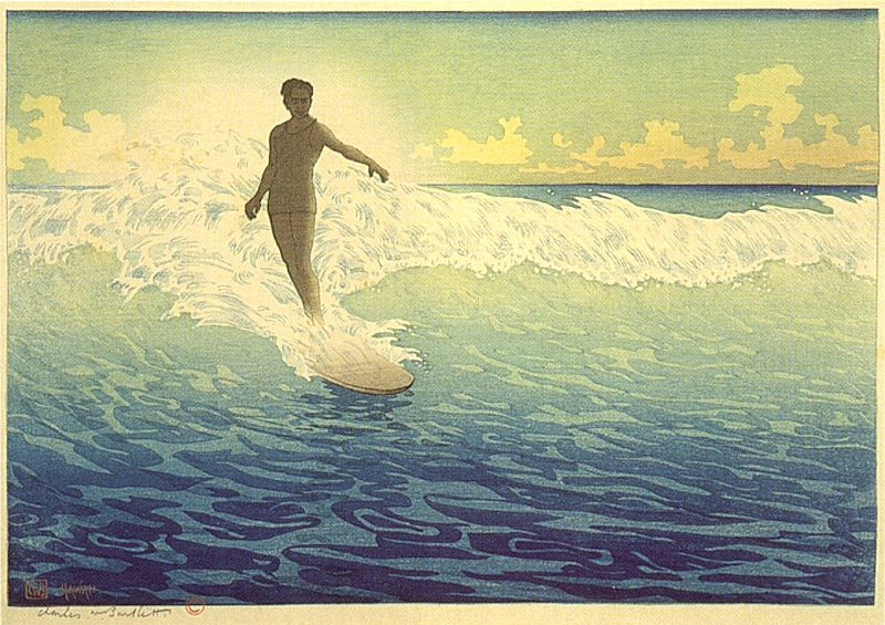 File:'Hawaii, The Surf Rider', woodblock print by Charles W. Bartlett, 1921, Honolulu Academy of Arts.jpg