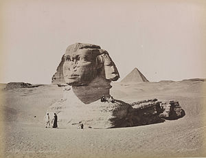 Great Sphinx of Giza - The Great Sphinx partly under the sand, ca. 1870s