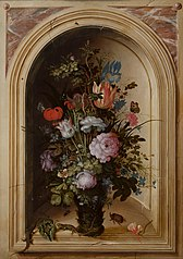 Vase of Flowers in a Stone Niche