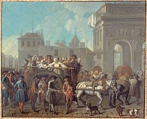 Étienne Jeaurat - The girls of pleasure at Salpétrière driven through the Porte St-Bernard