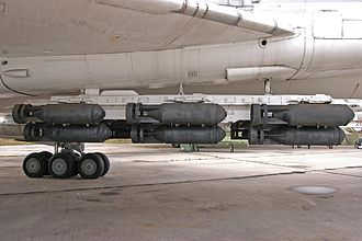 FAB-500 - 18 × FAB-500 general purpose bombs on two underwing pylons of a Tu-22M