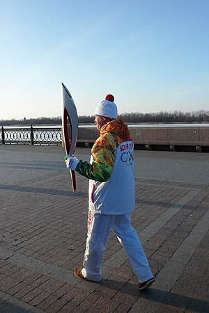 2014 Winter Olympics torch relay - Torchbearer in Astrakhan