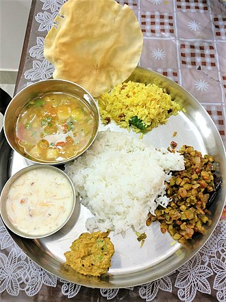 Telugu cuisine - Vegetarian Meals in a special day made in a house of Andhra Pradesh, Vijayawada