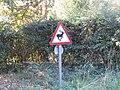 -2018-09-26 Leaping deer warning sign, Sandy Lane, West Runton.JPG