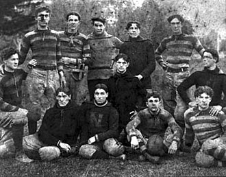 "San Jose State Spartans football - The State Normal School at San Jose football team in 1910. Jerseys display a large ""N"" for ""Normal."""