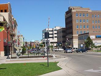 Fargo, North Dakota - Broadway at Main in downtown Fargo
