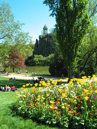 History of parks and gardens of Paris - The Parc des Buttes Chaumont is a picturesque landscape garden opened by Napoleon III in 1867.