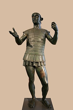Etruscan mythology - The Mars of Todi, a life-sized Etruscan bronze sculpture of a soldier making a votive offering, most likely to Laran, the Etruscan god of war, late 5th to early 4th century BC