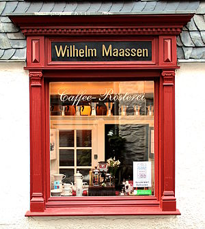 Coffee roasting - Window of a coffee-roasting shop in Montjoie (Germany)