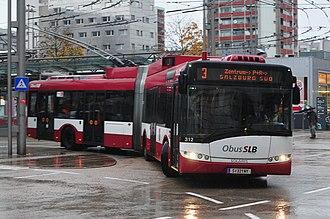 Trolleybuses in Salzburg - A Solaris Cegelec Trollino 18 in Salzburg, 2012.