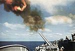 127 mm guns of USS Lexington (CVA-16) are fired in 1957.jpg
