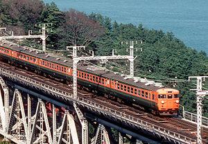 "153 series - A JNR 153 series EMU in ""Shonan"" livery on a Tokaido Main Line Izu service"