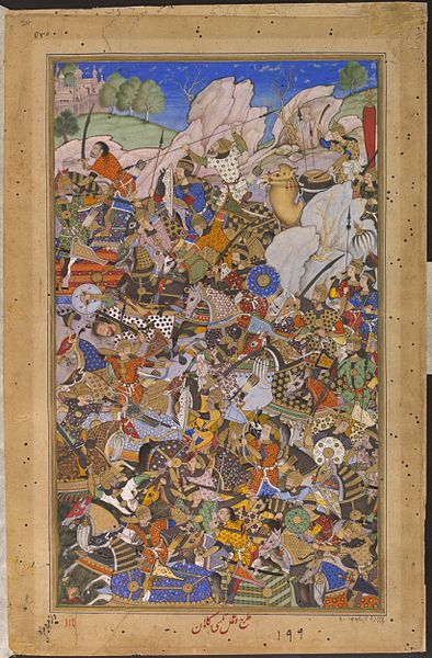 File:1577-The Battle Preceding the Capture of the Fort at Bundi Rajasthan-Akbarnama.jpg