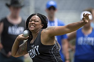 Box braids - African-American shotputter wearing box braids