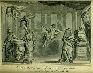 Antoine Brice - Drawing by Antoine Brice engraved by Antoine Cardon, Consolation of the Austrian Monarchy on the death of emperor Leopold II