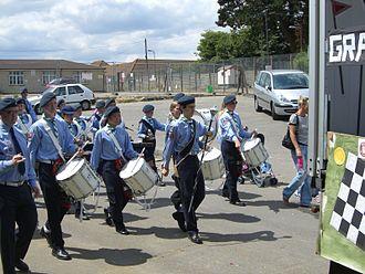 Drumline - A drumline with sling-harness snares