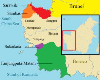 Sultanate of Sarawak - The polity of western Borneo, 17th century, with Sarawak in Red. The kingdoms that established close relationship with Sarawak are illustrated in colour, while other neighbouring kingdoms are represented in light brown.