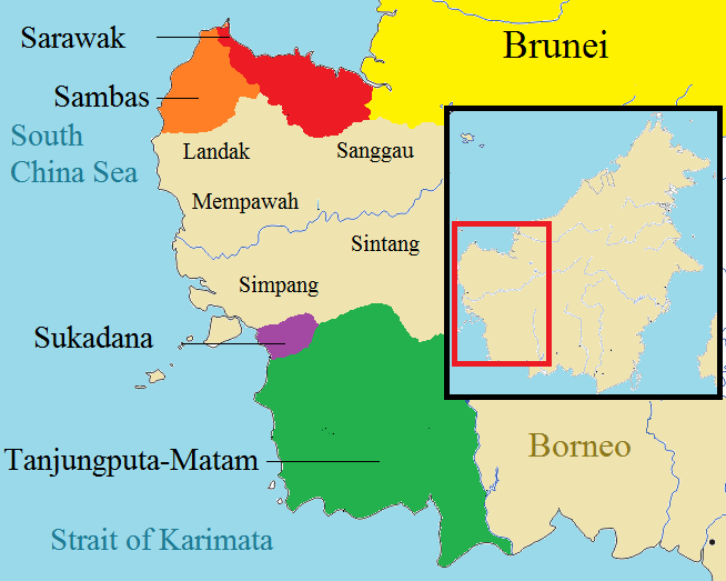 The polity of western Borneo, 17th century, with Sarawak in Red. The kingdoms that established close relationship with Sarawak are illustrated in colour, while other neighbouring kingdoms are represented in light brown.