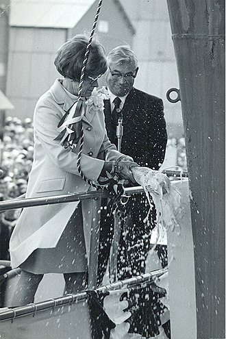 USS Nimitz - Catherine Nimitz Lay christens Nimitz on May 13, 1972