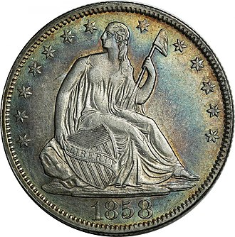 Barber coinage - An 1858 Seated Liberty half dollar.