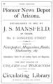 1881 Mansfield library ad Tucson Arizona directory by GW Barter p86.png