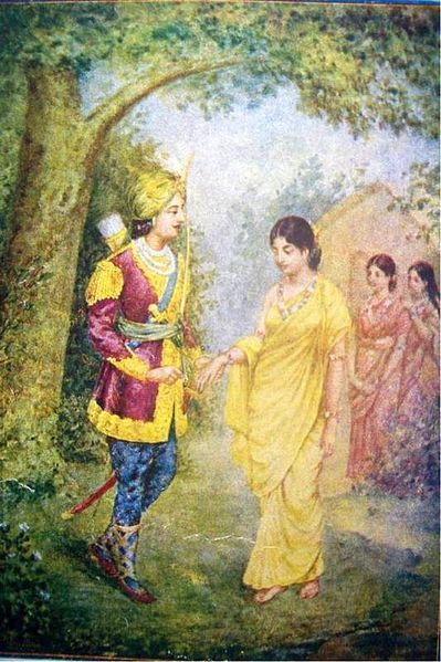 File:1940s Vintage Hindu Print Dushyant & Shakuntala.jpg