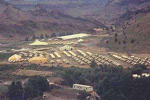 Rajneeshpuram - A tent city at Rajneeshpuram in 1983