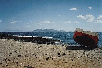 Santa Luzia, Cape Verde - View of the island of São Vicente facing Calhau and Monte Verde.  On the left is the island of Santo Antão.