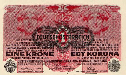 Hyper inflation led to a change of currency from the old Krone (here marked as German-Austrian) to the new Schilling in 1925 1P049-1919-1 Krone.jpg