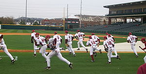 2010 Arkansas Razorbacks baseball team - The Diamond Hogs take the field in 2009.
