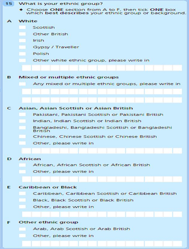2011 Scotland census ethnic group question