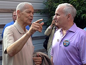"Same-sex marriage in Minnesota - Julian Bond and Governor Mark Dayton at a ""Vote No"" rally against Minnesota Amendment 1 in June 2012."